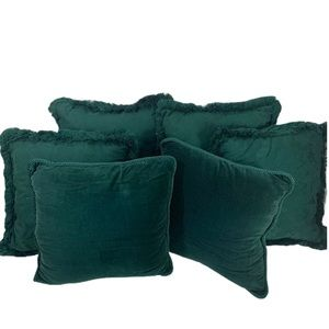 Bundle Of 6 Vintage Green beautiful Accent Pillows